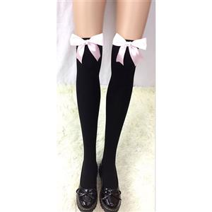 Cute Black Stockings, Sexy Thigh Highs Stockings, Pure Black Cosplay Stockings, Anime Thigh High Stockings, Pink Bowknot Stocking, Stretchy Nightclub Knee Stockings, #HG18461