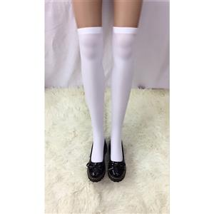 Cute White Stockings, Sexy Thigh Highs Stockings, Pure White Cosplay Stockings, Anime Thigh High Stockings, Stretchy Nightclub Knee Stockings, #HG18453