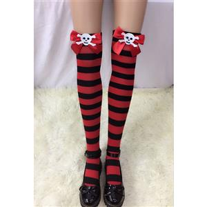 Halloween Stockings, Sexy Thigh Highs Stockings, Red-black Strips Cosplay Stockings, Red Bowknot with Skeleton Cosplay Thigh High Stockings, Stretchy Nightclub Knee Stockings, #HG18539