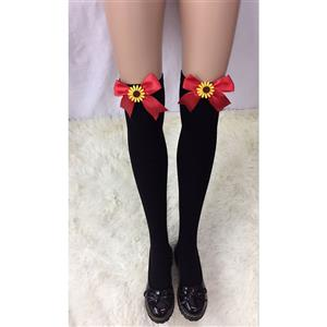 Lovely Black Stockings,Black Cosplay Stockings, Sunflower Thigh High Stockings, Red Bowknot Stocking, Stretchy Nightclub Knee Stockings, #HG18466