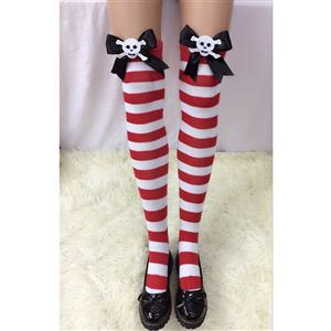 Halloween Stockings, Sexy Thigh Highs Stockings, Red-white Strips Cosplay Stockings, Skeleton Thigh High Stockings, Stretchy Nightclub Knee Stockings, #HG18506