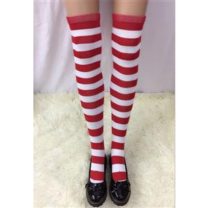 Cute Red-white Strips Stockings, Sexy Thigh Highs Stockings, Red-white Strips Cosplay Stockings, Anime Thigh High Stockings, Stretchy Nightclub Knee Stockings, #HG18491