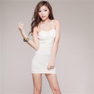 White Sleeveless Low-cut Nightgown, Sexy Backless Bodycon Mini Dress, White Sleeveless Backless Mini Dress, Sexy Night Club Dance Dresses, Sexy Bodycon Night Club Mini Dress, Low-cut Backless Club Mini Dress, #N17664
