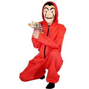 Men's Halloween Costume Banknote House Dali Red Jumpsuit Clown Cosplay Costume with Mask N18896