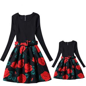 Mother and Daughter Vintage Dress, Fashion Mom&Me Clothing, Vintage Dress for Mom&Me, Dresses for Mom&Me, Long Sleeve Dress for Mother and Daughter, Floral Print Tank Mini Dress, #N15529