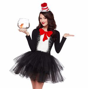 Sexy Halloween Costumes , Cat in the Hat Cosplay Costumes, Movie Role Women's Costume, Cat in the Hat Character Costume, Cat in the Hat Adult Costume, #N16124