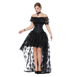 Sexy Off Shoulder Crop Top Sets, Women's Crop Top Skirt Set, Classical Gothic Black Skirt Sets, Sexy Black Ruffled Short Sleeve Crop Top, Retro High Low Organza Skirt Sets, #N18206