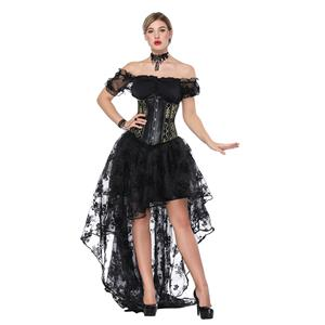 Sexy Off Shoulder Crop Top Sets, Women's Crop Top Skirt Set, Classical Gothic Black Skirt Sets, Sexy Black Ruffled Short Sleeve Crop Top, Retro High Low Organza Skirt Sets, #N18224