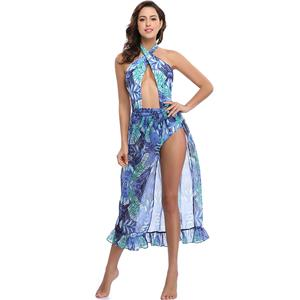 Sexy Blue Plant Print Swimsuit&Cover Up, Women's Sexy Swimsuit&Cover Up, Sexy Criss Corss Halter Plant Print Swimsuit &Cover Up, #BK12620