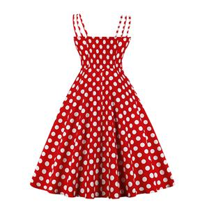 Adorable Polka Dots Strappy Sleeveless High Waist Summer Tea Party Swing Dress N20162