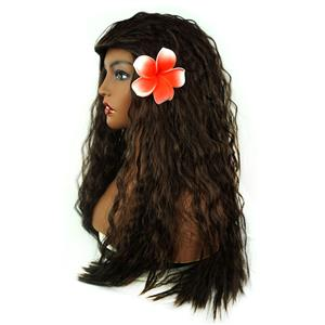 Fashion Polynesian Princess Movie Halloween Party Wig, Sexy Masquerade Wavy Hair Wig, Girl's Hawaiian Tribes Wavy Long Hair Wig, Hawaiian Girl Film Wavy Long Hair Cosplay Wig, Halloween Masquerade Cosplay Party Accessory Wig, #MS19661