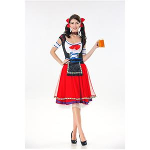 Sexy Maid Costume, Women's Beer Girl Costume, Bavarian Beer Girl Costume, Oktoberfest Wench Adult Dirndl Dress, Oktoberfest Beer Babe Costume, #N19596
