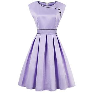 Vintage Dresses for Women, Sexy Dresses for Women Cocktail Party, Casual Midi dress, Purple Swing Daily Dress, Women's Swing Midi Dress, #N14391