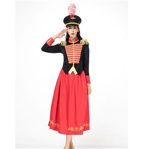 Red-black Honor Guard Majorette Leader Baton Girl Maxi Dress Halloween Costume with Hat N18309