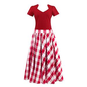Women's T-shirt and Skirt Set, Vintage T-shirt Skirt Set, Short Sleeve T-shirt and Plaid Skirt Set, #N12943