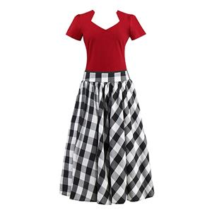 Women's T-shirt and Skirt Set, Vintage T-shirt Skirt Set, Short Sleeve T-shirt and Plaid Skirt Set, #N12945