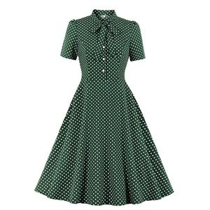 Sexy A-line Swing Dress, Retro Polka Dots Print Dresses for Women, Vintage Dresses 1950's, Plus Size Summer Dress, Vintage High Waist Dress for Women,Stand Collar Swing Dresses for Women, Vintage High Waist Dresses for Women, #N20955