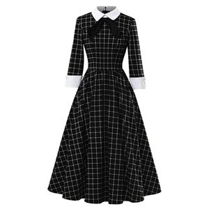Sexy A-line Swing Dress, Retro Plaid Print Dresses for Women, Vintage Dresses 1950's, Plus Size Summer Dress, Vintage High Waist Dress for Women,Lapel Swing Dresses for Women, Vintage High Waist Dresses for Women, #N20964