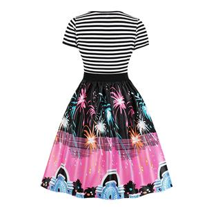 Fashion Round Neck Short Sleeves Colorful Fireworks Printed High Waist Dress N18036