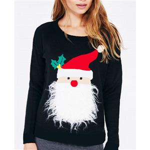 Christmas Sweater, Santa Snowflakes Knitted Sweater, Cheap Women's Pullover, Sexy Sweater for Women, #N12263