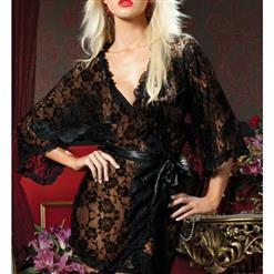 Black Lace Trim Robe, Lace Lightweight Sleepwear Robe, Sexy Sleepwear Robe Black, Floral Lace Robe Nightgown, Half Sleeve Nightgown for Women, #N17255