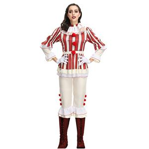 Scary Clown Costume, Scary Clown Cosplay Halloween Costume, Horror Clown Costume, Scary Clown Role-palying Costume, Harlequin Clown Adult Halloween Circus Costume, #N19137