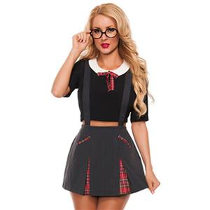 Innocent School Girl Costume, Sexy School Girl Costume, Plaid Schoolgirl Costume, Schoolgirl Adult Costume, #N11901