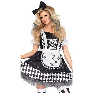 Adult Wonderland Halloween Costume, Sexy Alice Wonderland Costume, Ladies' Wonderland Alice Liddle Costume,  Alice Liddle Costume, Alice Ruffled Attached Apron Costume, #N18682