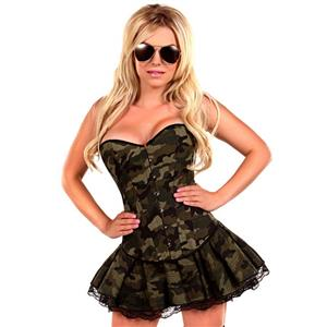 Camouflage Green Skirt Costume, Army Costume for Women, Plus Size Costume, Sexy Halloween Costume, #N11106