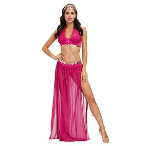 Sexy Rose-red Costume, Persia Style Dance Performace Costume, Women's Dancer Halloween Costume,Sexy Belly Dance Costume, Sexy Dancing Outfit Carnival Costume, #N20599