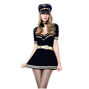 Women's Police Costume, Hot Sale Halloween Costume, Cheap Cop Costume, Hot Sale Cop Dress Lingerie Costume, Halloween Cosplay Police Outfit, Sexy Policewoman Costume, #N18355