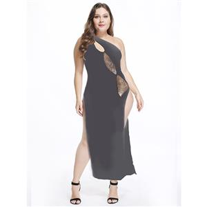 Sexy Black Long Gown, Cheap Black Clubwear Long Dress, Women's Sexy High Split Dress, Clubwear Party Black Dress, One-shoulder High Split Long Dress, #N18357