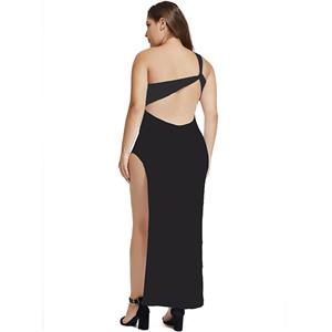 Sexy Black One-shoulder Side High Split Hollow Out Clubwear Long Gown N18357