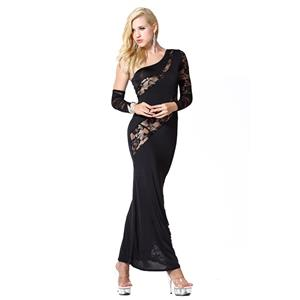 Sexy Black Long Gown, Cheap Black Clubwear Long Dress, Women's Sexy Lace Dress, Clubwear Party Black Dress, One-shoulder Lace Long Dress, #N18601