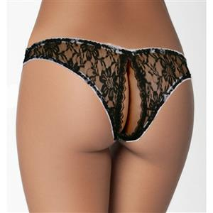 Sexy Black Sexy Crotchless Panties Lace Sleep Night Underwear PT17557
