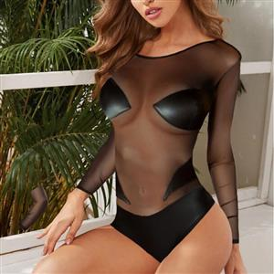 Sexy Sheer Black Mesh And PU Long Sleeve V-back Tight Teddies Lingerie N20826