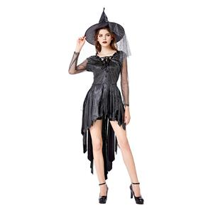 Vintage Witch Costume, Vintage Witch Halloween Party Dress, Sexy Black Witch Costume, Fashion Black Witch Womens Costume, Sexy Gothic Witch Costume, #N20740