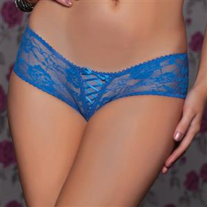 Sexy Blue Thong, Sexy Lace Panty for Women, Blue Lace-up Lace Thong, Blue Crotchless Lace Panty, Sexy Open Crotch Plus Size Thong, Sexy Blue Lace Panty, #PT17529