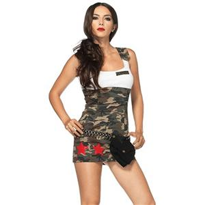 Sexy Army Costume, Temptation Military Costume, Sexy Self-Tie Military Costume, Soldier Costume, Cheap Halloween Costume, Women's Costume, , #N18265