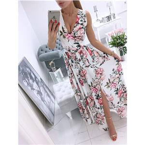 Sexy Summer Party Dresses, Women's Cocktail Party Dress, Sexy Daily Casual Dress,Cocktail Party Dress,Deep V Neck Sleeveless Beach Dress, Sexy Beach Dress, Floral Print Dress, #N21010