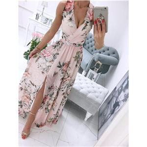 Sexy Summer Party Dresses, Women's Cocktail Party Dress, Sexy Daily Casual Dress,Cocktail Party Dress,Deep V Neck Sleeveless Beach Dress, Sexy Beach Dress, Floral Print Dress, #N21011