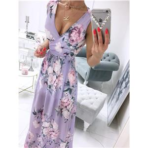 Sexy Summer Party Dresses, Women's Cocktail Party Dress, Sexy Daily Casual Dress,Cocktail Party Dress,Deep V Neck Sleeveless Beach Dress, Sexy Beach Dress, Floral Print Dress, #N21012