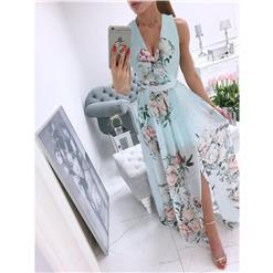 Sexy Summer Party Dresses, Women's Cocktail Party Dress, Sexy Daily Casual Dress,Cocktail Party Dress,Deep V Neck Sleeveless Beach Dress, Sexy Beach Dress, Floral Print Dress, #N21013
