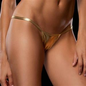 Sexy Gold Faux Leather Thong, Sexy Night Club G-string for Women, Gold Leather Night Club Thong, Low Waist Leather G-string, Sexy Low Waist Night Club Thong, #PT16579