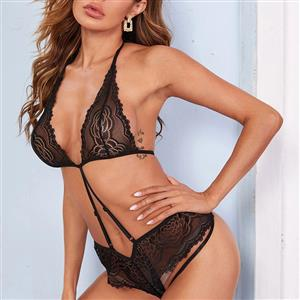 Sexy Black Floral Lace Halter Strappy Low Cut One-piece Teddy Lingerie N20843
