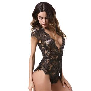 Sexy Black Sheer Floral Lace Low-cut High Waist Stretchy Teddies Lingerie N18840