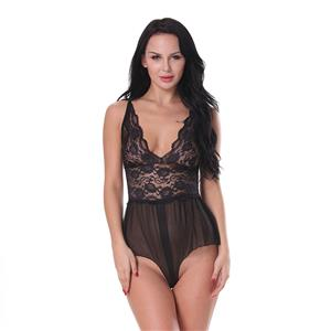Flirty Open Crotch Bodysuit, Sexy Clubwear Stripper Striptease Bodysuit for Women, Sexy See-through Floral Lace Lingerie, Cheap Romper Lingerie for Women, Sexy Valentines Lingerie, Sexy Stretchy Bodysuit Lingerie, Sexy Sheer Lace Teddies Lingerie, #N19287