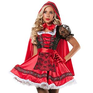 Sexy Halloween Costume, Sexy Red Riding Hood Costume, Fancy Cosplay Dresses, Red Riding Hood Halloween Costume, #N11907