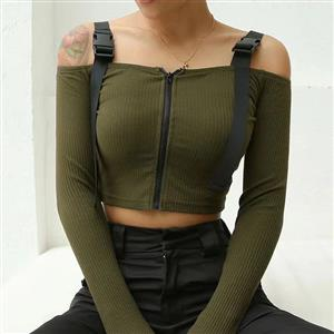 Sexy Gothic Off-shoulder Blouse Top, Sexy Crop Top, Sexy Clubwear Tummy Top, Sexy Cutoff Shirt Clubwear, Long Sleeve Crop Top, Casual Half Shirt, Sexy Corset Costume Top, #N20074