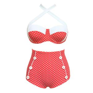 Sexy Red High Waist Bikini Set BK12313